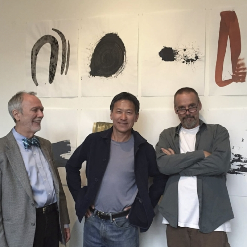 "stephen headley, russ, and me in front of ""different kinds of kisses"" in solo show at high wire"