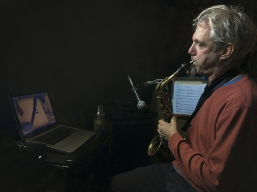 jeff hobbs recording sax audio for our latest collaboration january 2018