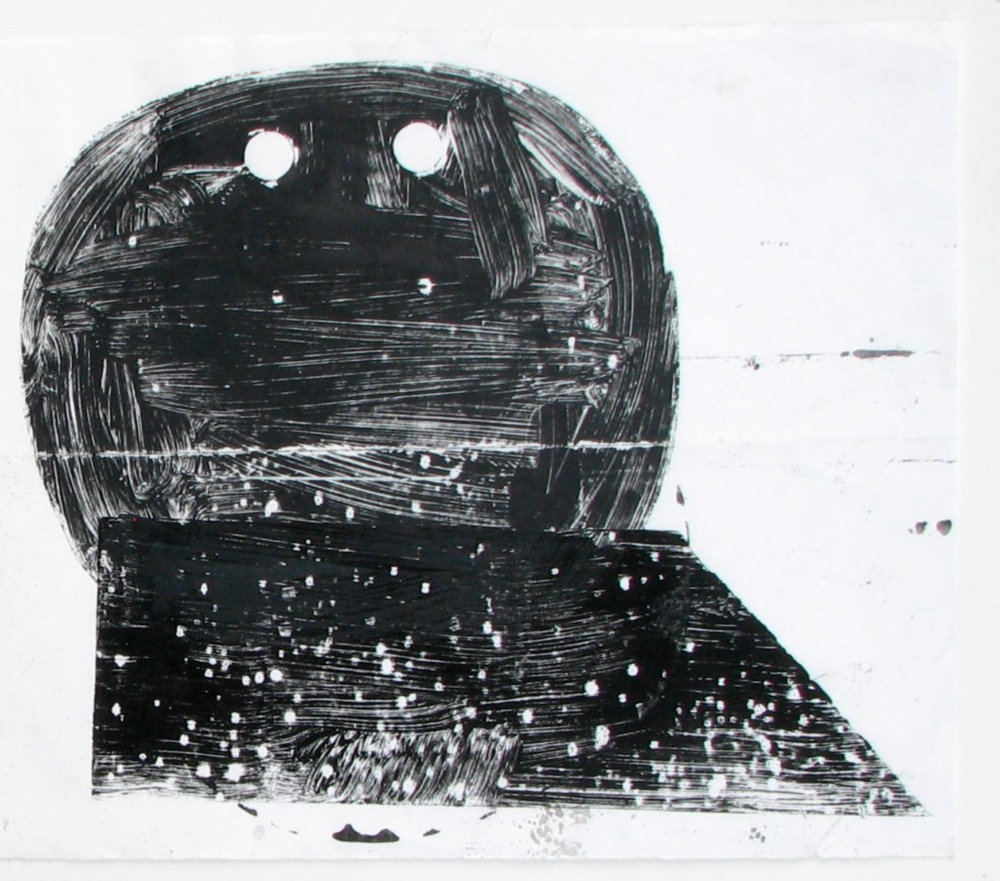 pawn face carbon monoprint on paper