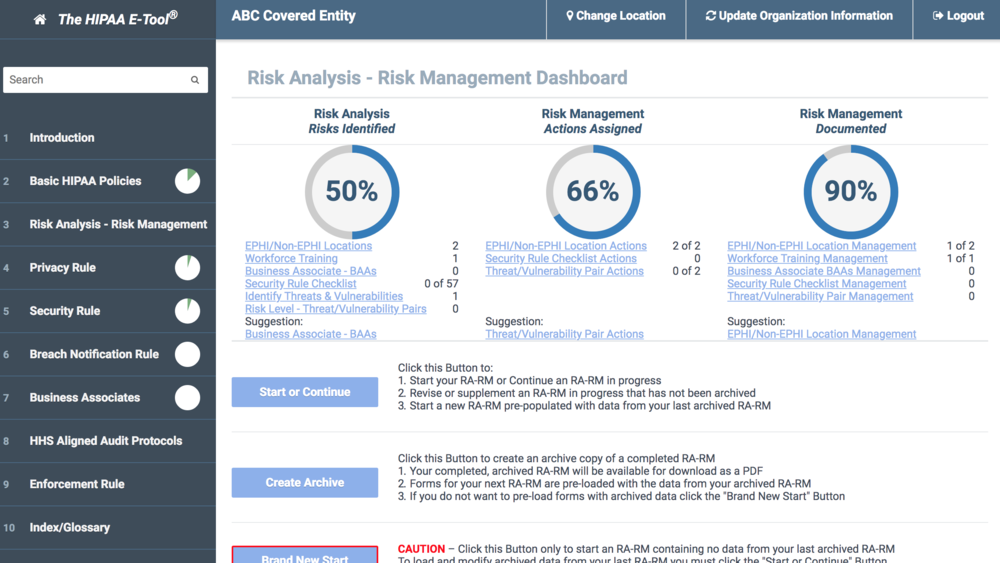The new dashboard in the Risk Analysis - Risk Management section guides staff through the process, allows for stop and start work to completion, and helps management see progress.