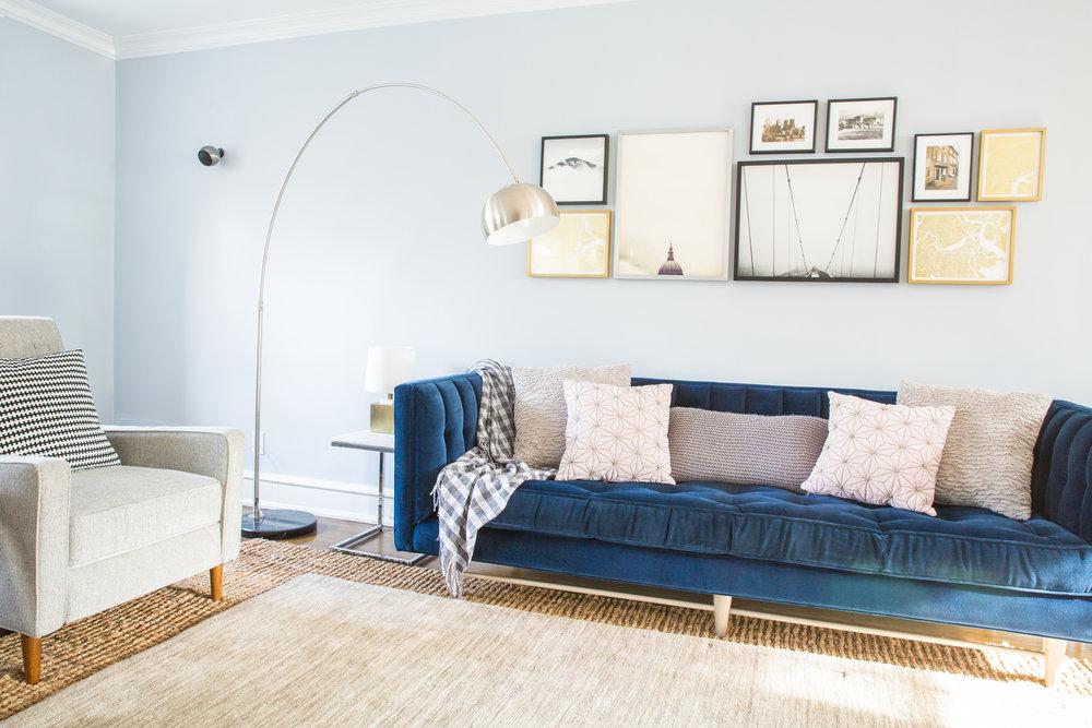 Michelle Gage // Mainline Feminine Meets Masculine Living Room
