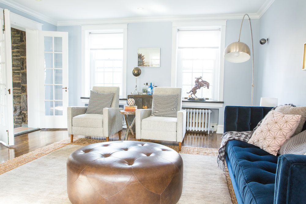 Michelle Gage // Before + After: Feminine Meets Masculine Living Room