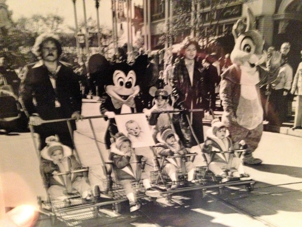 Owner Derek in a Parade with his parents, brothers, sisters, and Mickey Mouse back in 1976.