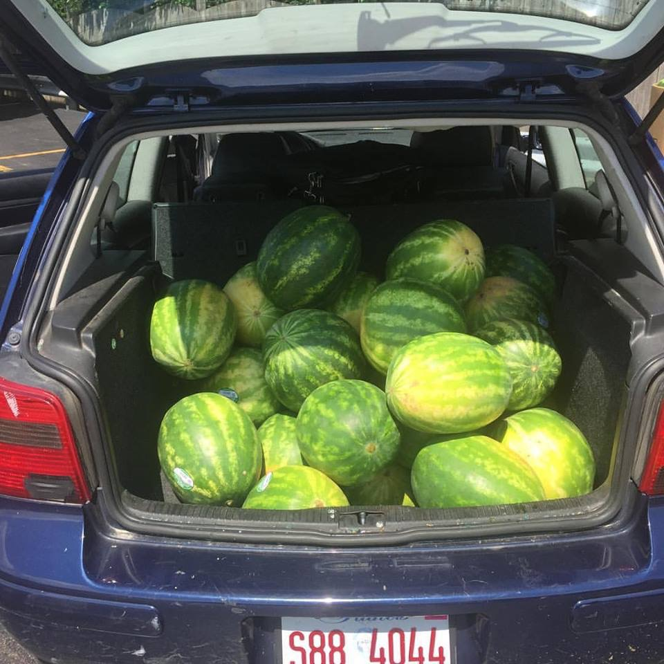 The weekly watermelon pick-up.