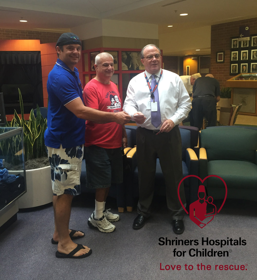 Derek and his uncle Rick making their first donation at Shriner's Hospital for Children.  We can't wait to donate more!