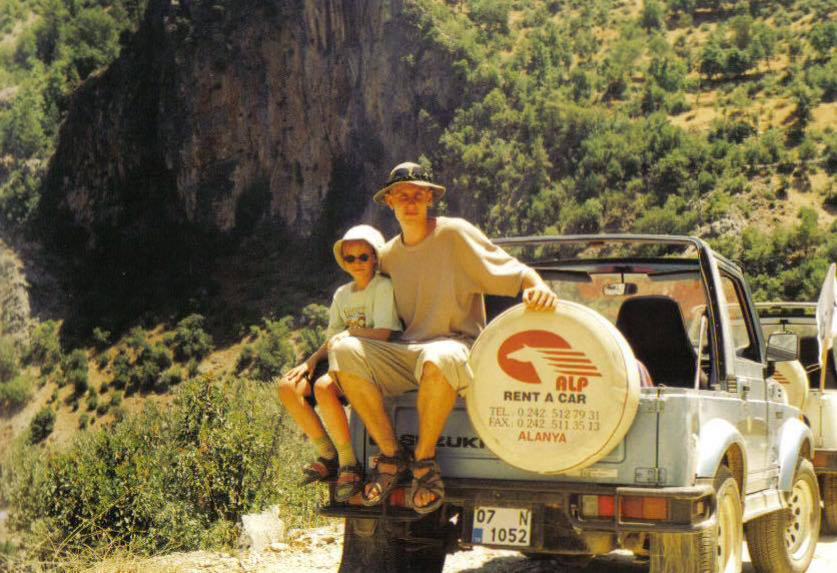 Hanna at 7 years old with her brother on a jeep safari in Turkey