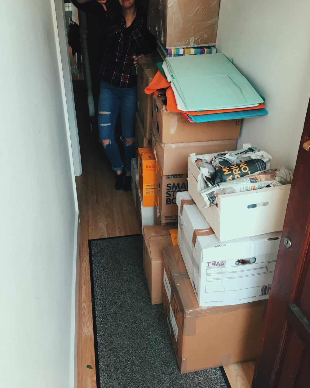 The moment of realisation about how many boxes we really have to store - and they kept coming!