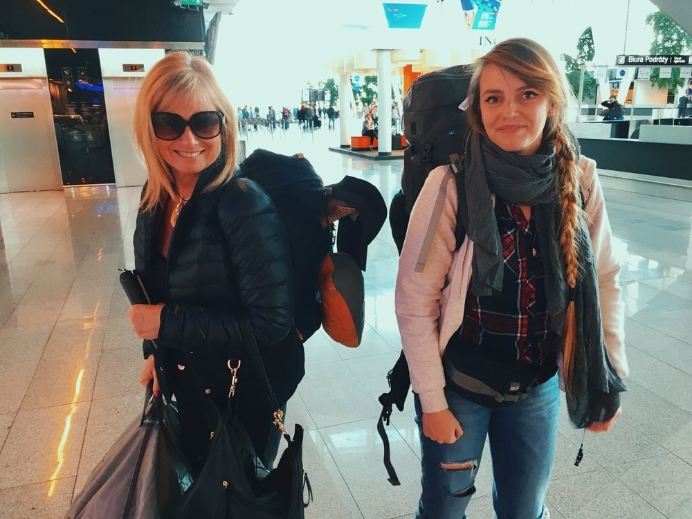Hanna with her mum, who picked us up from the airport in Poland and helped to carry the little backpack :)
