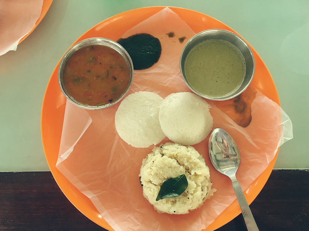 An Indian breakfast complete with Samba and Idlis