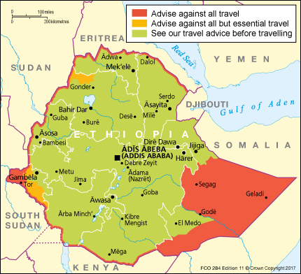 The 'Travel Safety' Map of Ethiopia on UK Government website