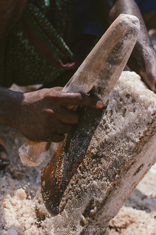 Salt miner in action