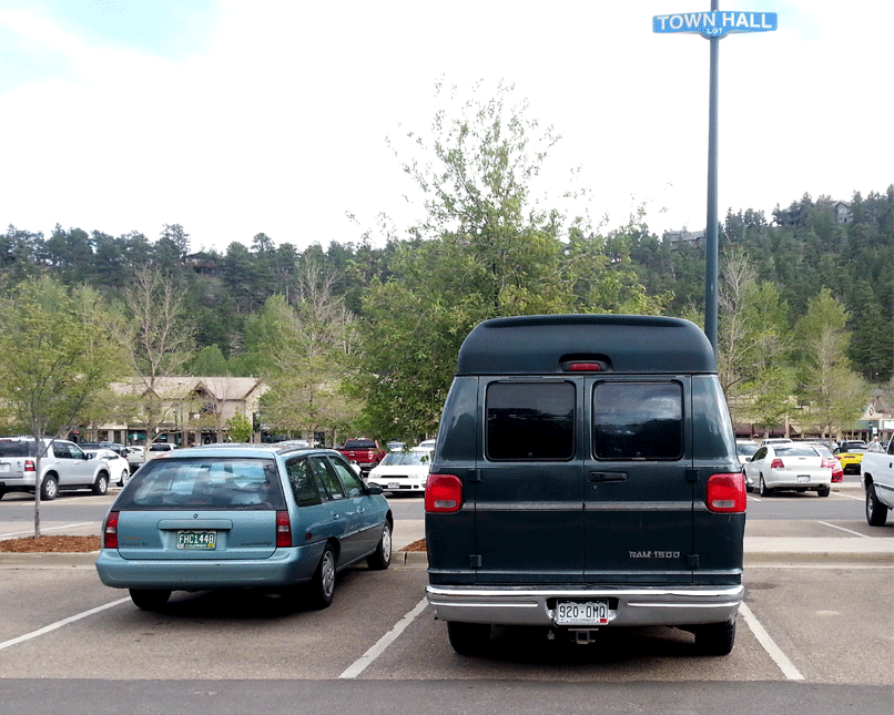 Perfect parking in the library parking lot!