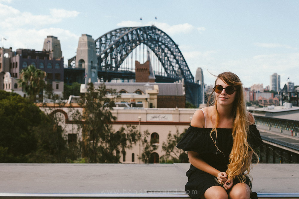 Hanna and Sydney Harbour Bridge in the background