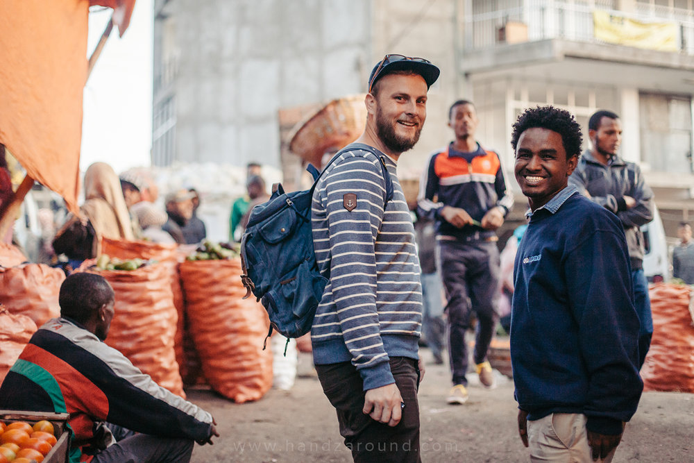 Zach and Birhanu from GoAddis in Mercato (biggest open air market in Africa)