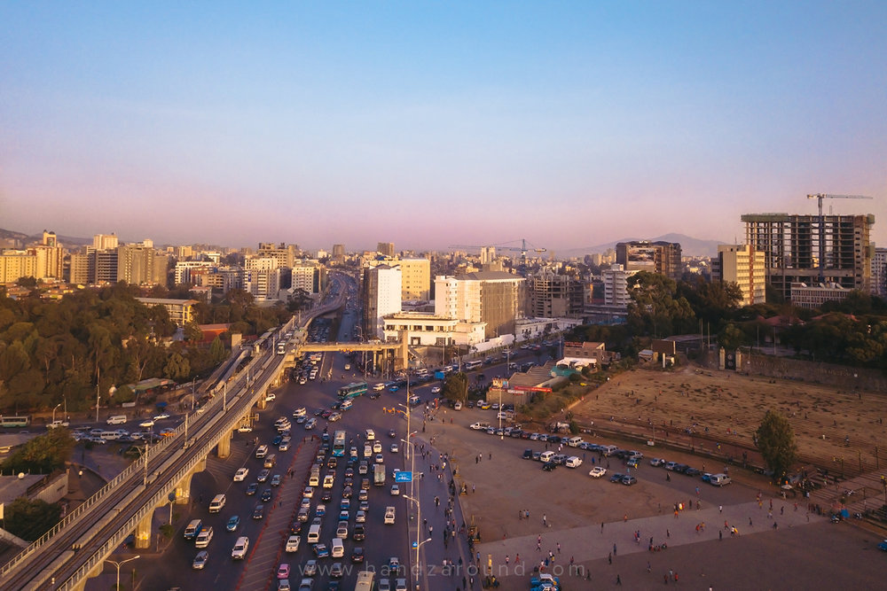Addis's Meskel Square at sunset