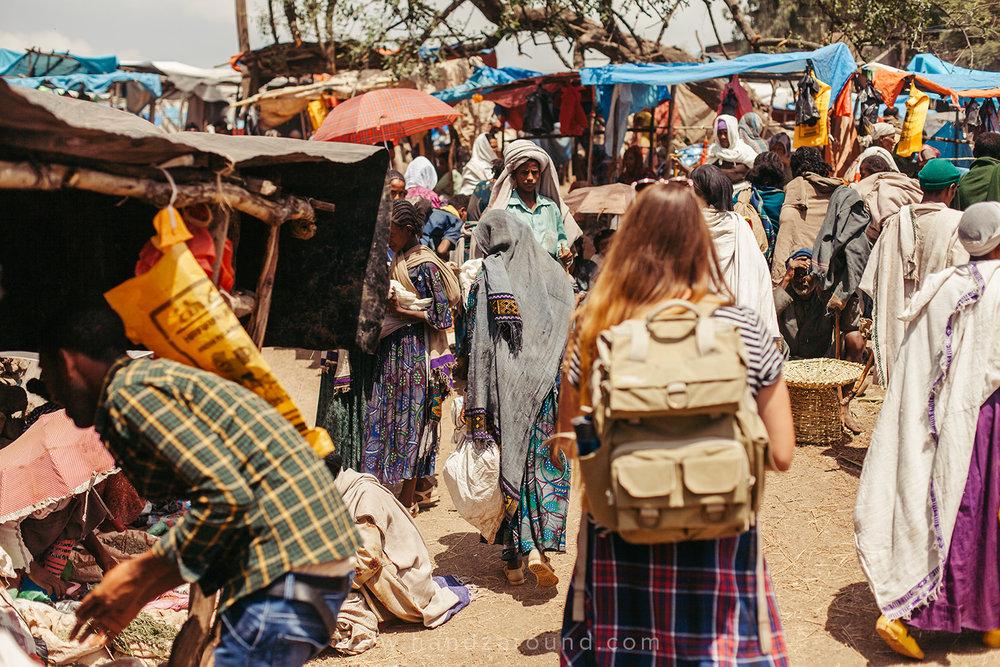 Walking around the Saturday market in Lalibela