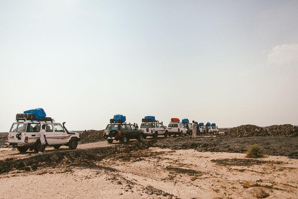 Our car convoy in Afar region