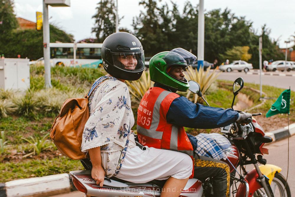 Hanna discovering Kigali on a moto
