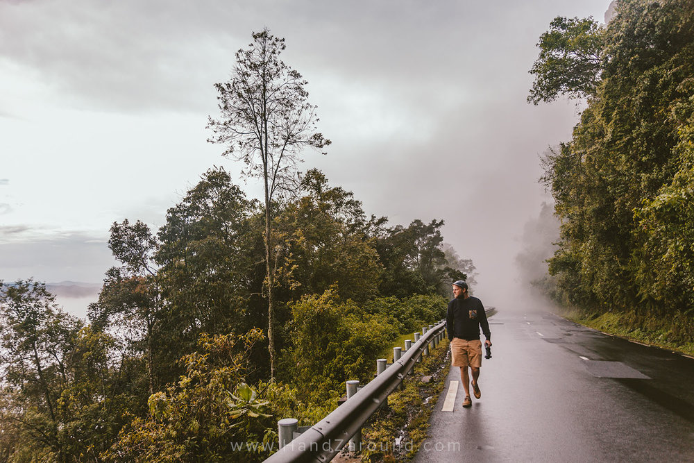 The weather in Rwanda may be unpredictable at times! Here, Zach is getting covered with a fog cloud in Nyungwe Forest.