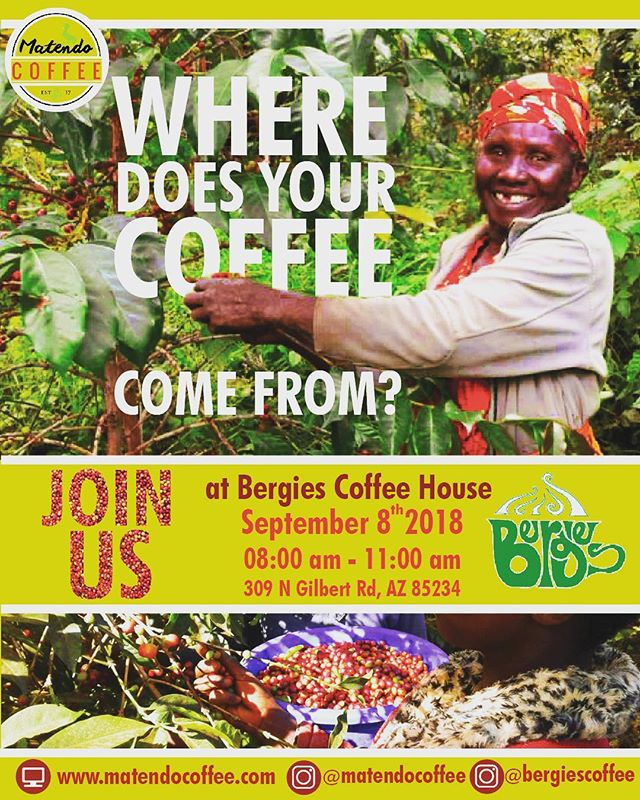 Join us @bergiescoffee to celebrate a direct trade relationship coffee. We will have a table showcasing Uganda as a coffee origin. Come try a sample on September 8th from 8am to 11am. We look forward to seeing you there. #downtowngilbertaz #downtowngilbert #arizonacoffee #gilbertarizonafood #gilbertarizona