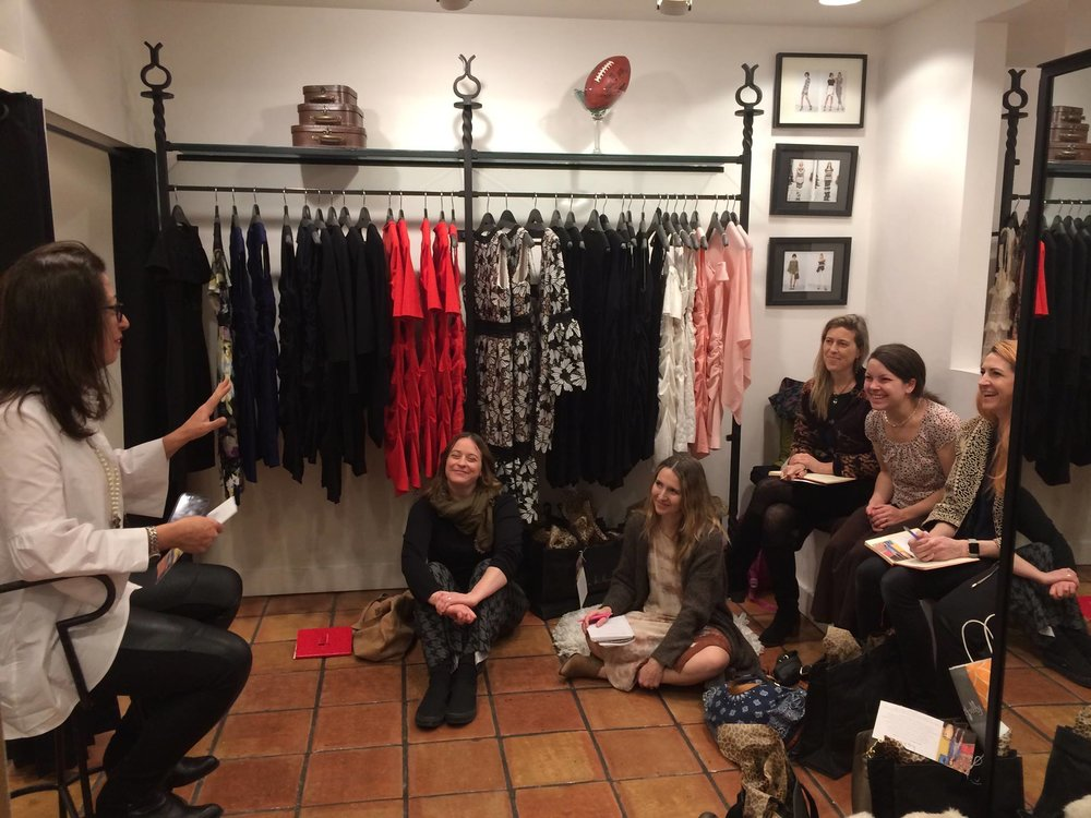 Philadelphia Fashion Incubator designers during a workshop at Nicole Miller at the Bellevue with owner Mary Dougherty.