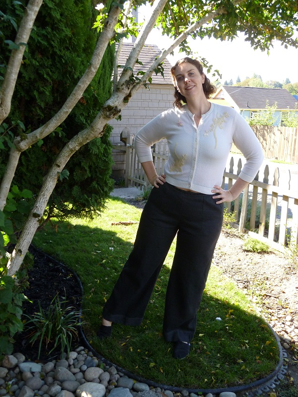 These pants go great with my vintage wool sweater from a second hand shop.