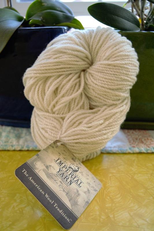 White wool yarn from Imperial Yarn of Oregon.