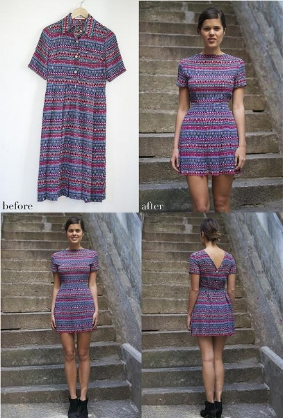 Before and After Upcycled dress from A Pair and A Spare