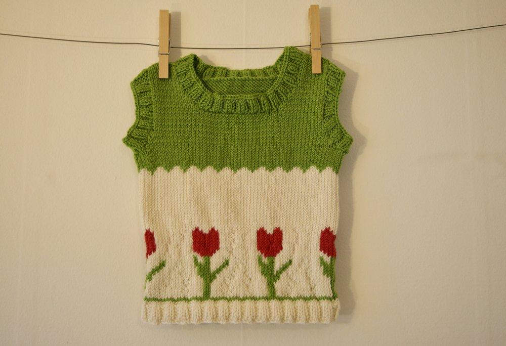 Tulip Sweater Vest For Baby Free Knitting Pattern Wavoki