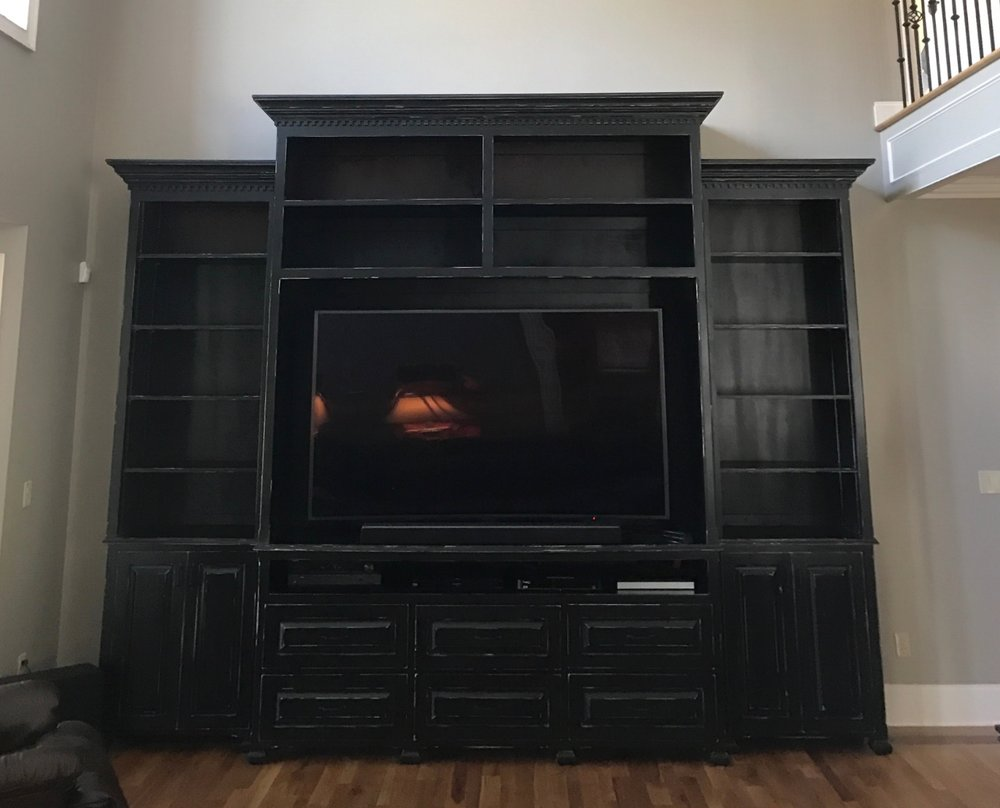 Distressed Black Entertainment Center