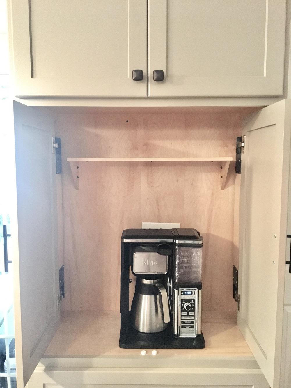 Custom Hiding Coffee Bar with Pocket Doors.