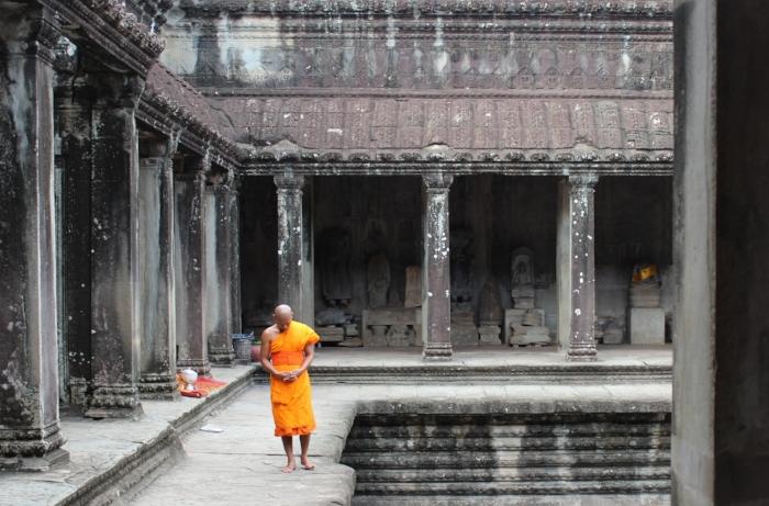 Monk in Angkor Wat;Siem Reap, Cambodia; Summer 2016