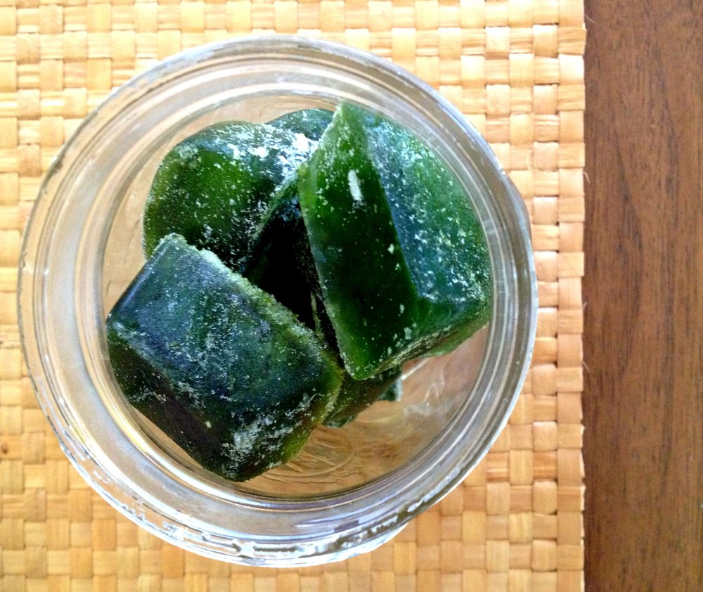 Juicing Leaf - Cannabis leaf, juiced and frozen in ice cubes for future use. The fresh leaf will also keep in a crisper bin in the refrigerator for several weeks before rinsing. Adding water will cause it to rot.Photo: Sharon Letts