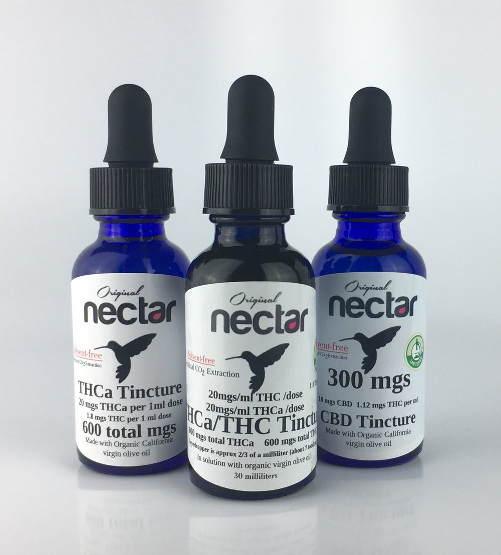 - THCA, THC and CBD tinctures by Original Nectar of San Diego, California.