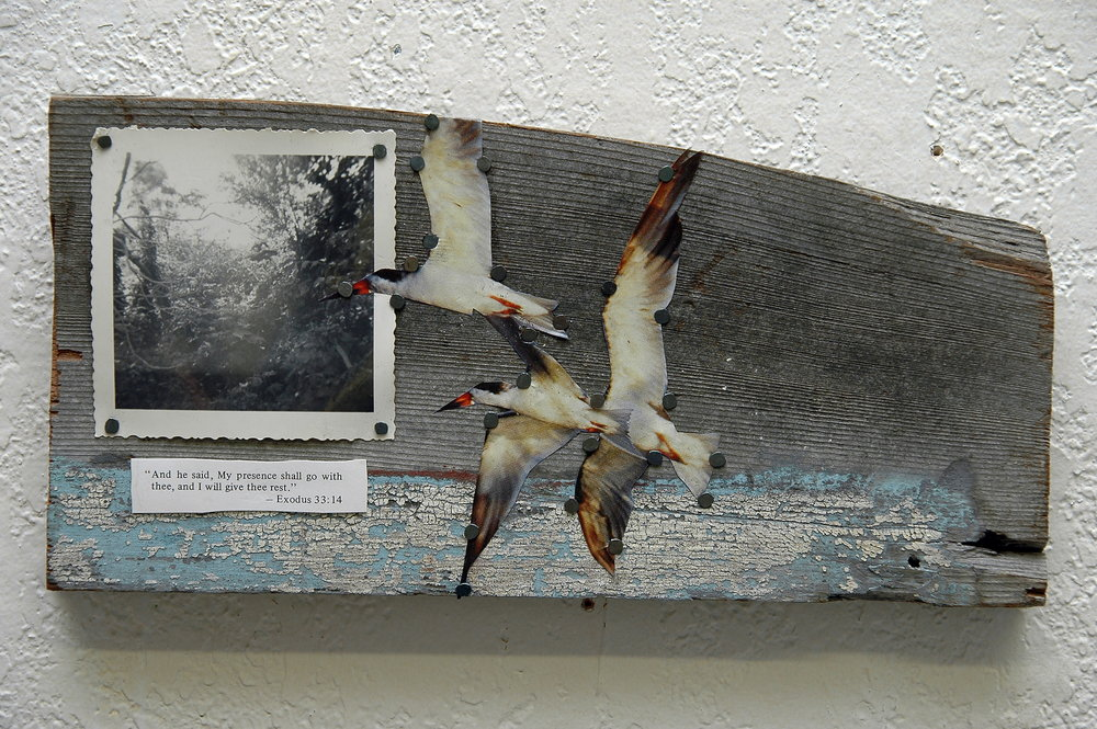 Discovering cannabis again, after a 16 year self-imposed hiatus, brought spontaneous creativity back into Sharon's life. Shown here is an assemblage piece that came from walking alley ways, while collecting material and taking photographs.  photo: sharon letts
