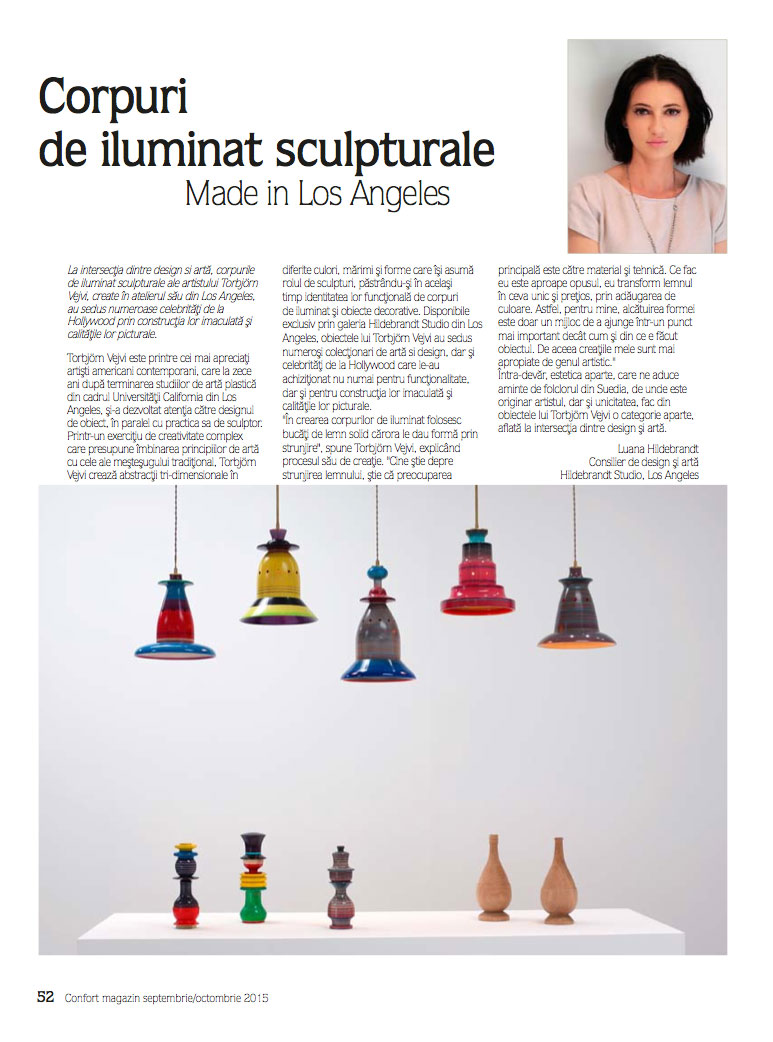 Hildebrandt Studio 'A Number of Lamps' exhibition published in  Confort Magazine