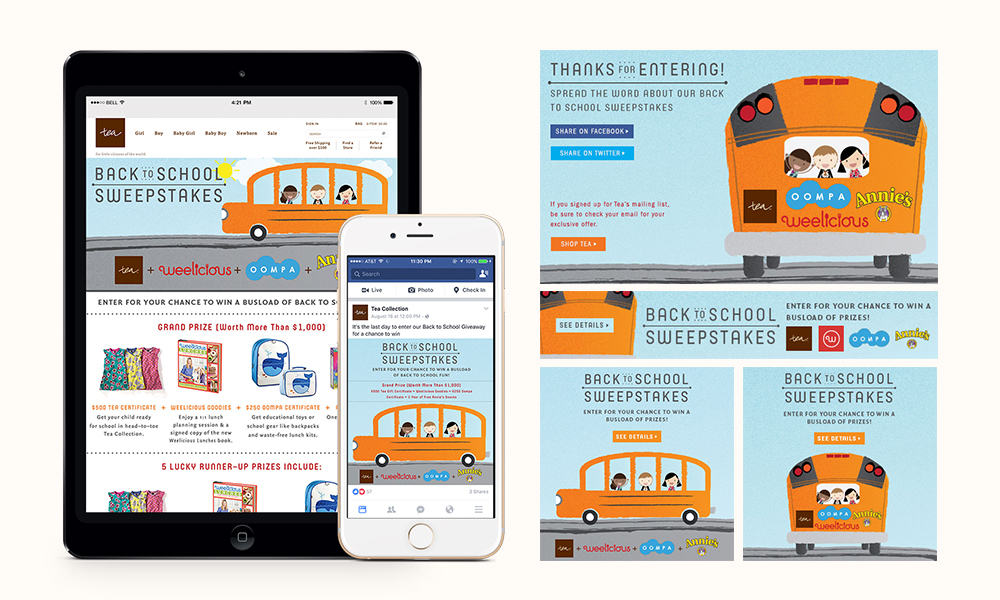 Conceptualized the design direction for the Back to School Sweepstakes and illustrated the artwork on Adobe Illustrator