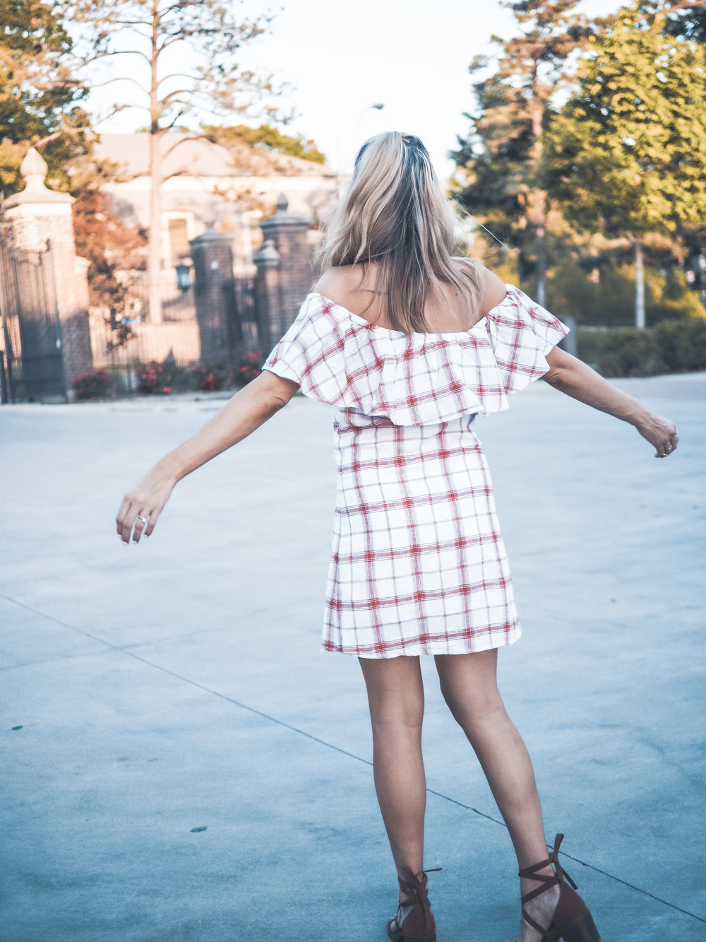 plaid off the shoulder dress