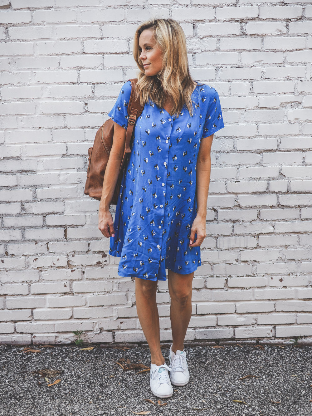 button down blue dress