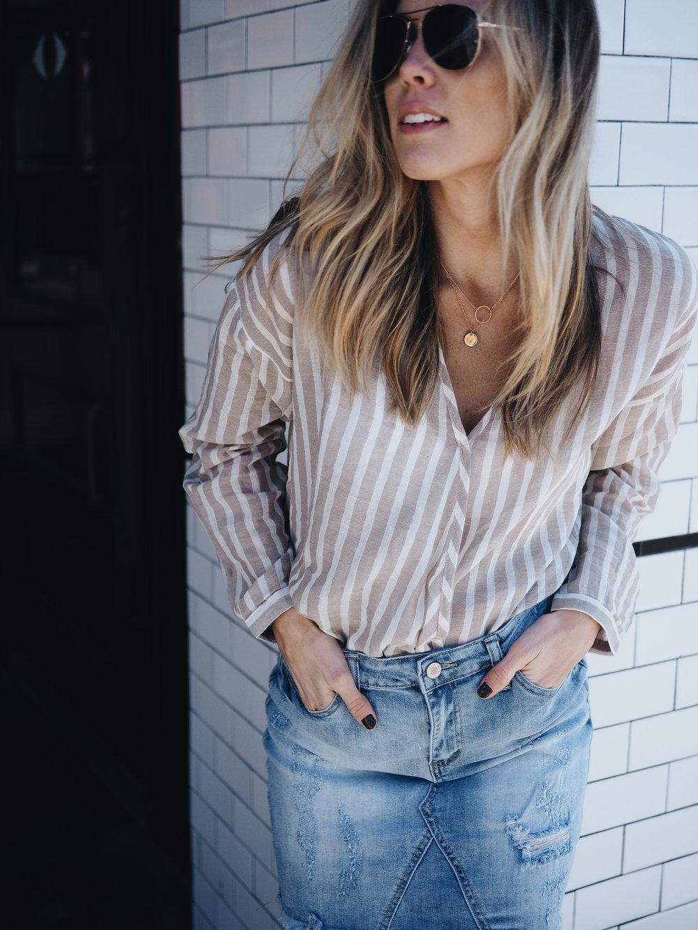stripes with denim skirt