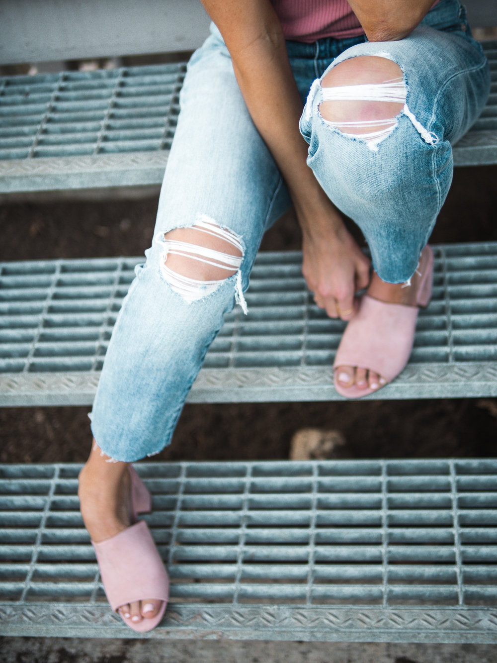 boyfriend jeans and pink mules