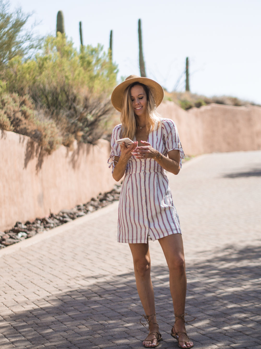 striped playsuit\ lace up sandals\boater hat