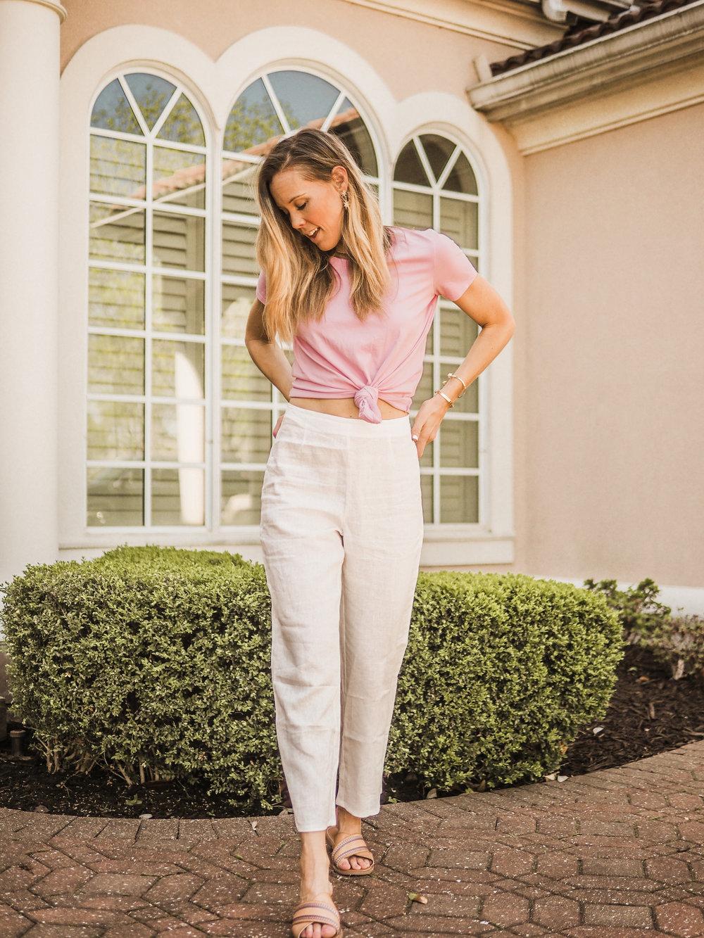 white linen pants\pink madewell tee