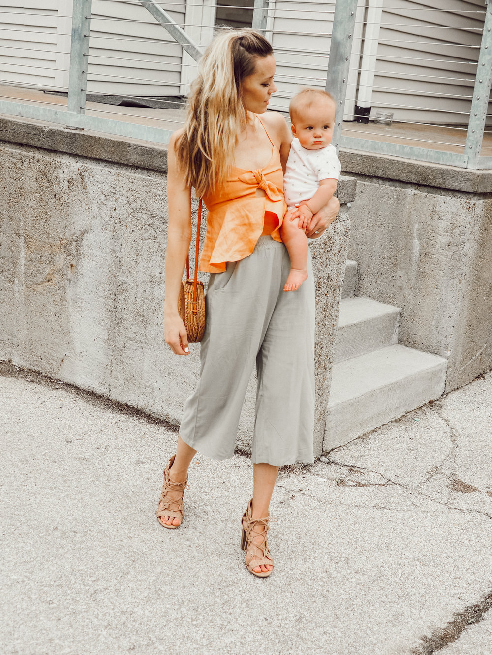 green culottes\ orange crop top