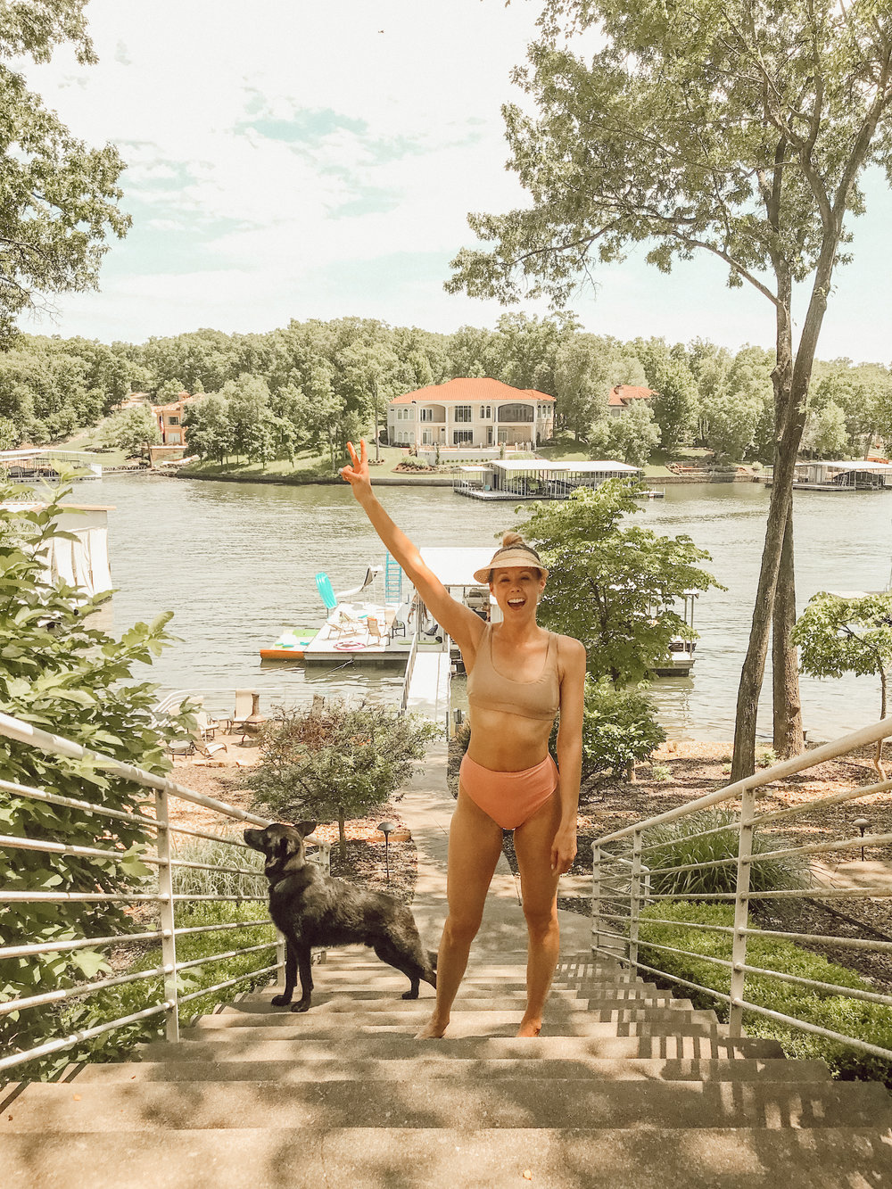 high waisted bikini - peach - summer style