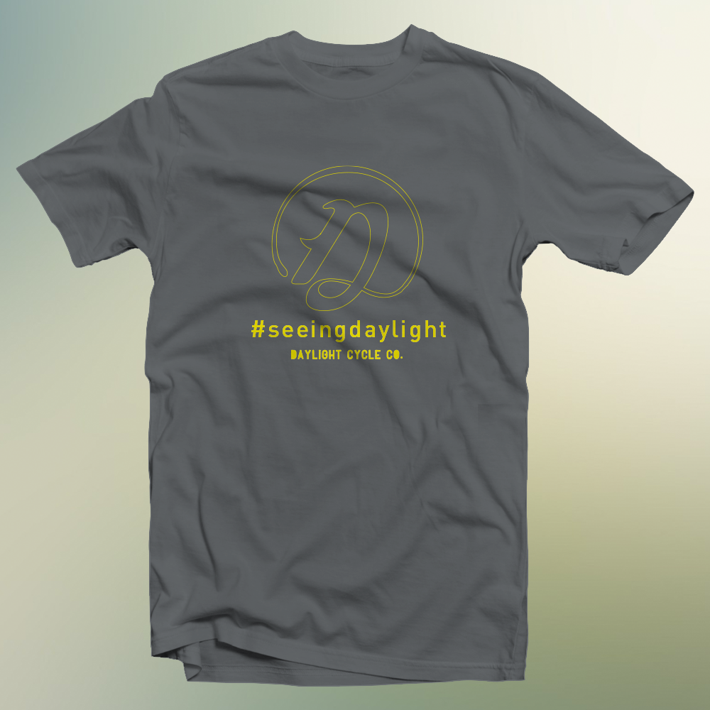 #seeingdaylight outlined D T: Storm Gray / Sun Yellow $25
