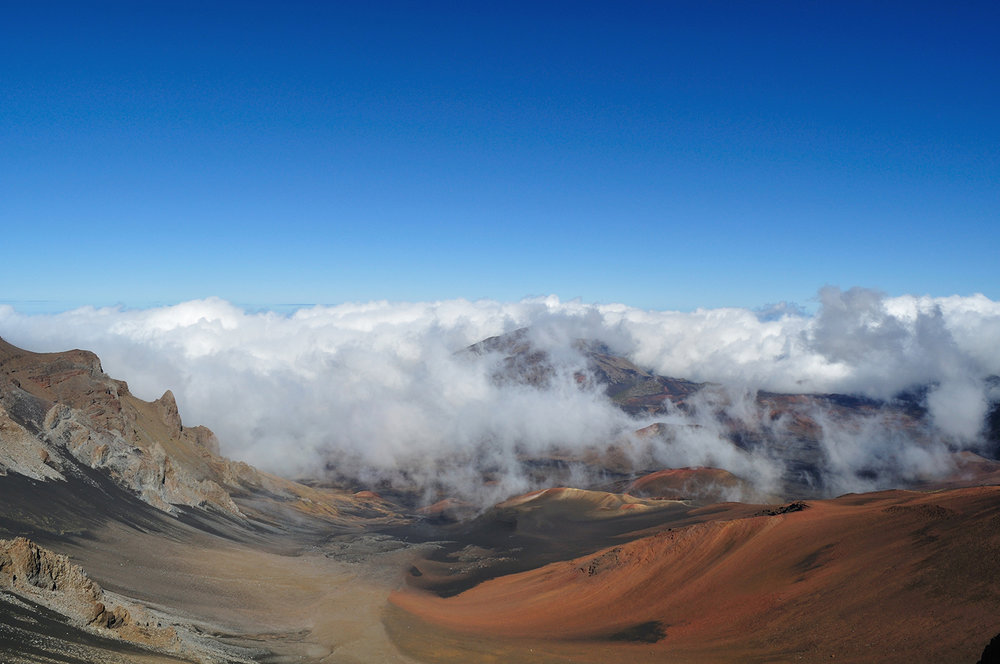 "Summit area of Haleakala, Maui, Hawaii. This habitat is home to Thyrocopa apatela, the flightless ""grasshopper moth."""