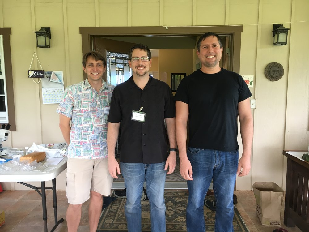 Will Haines ,  Jesse Eiben , and me, arranged in increasing order of height.  Big Island of Hawaii, April 2016.