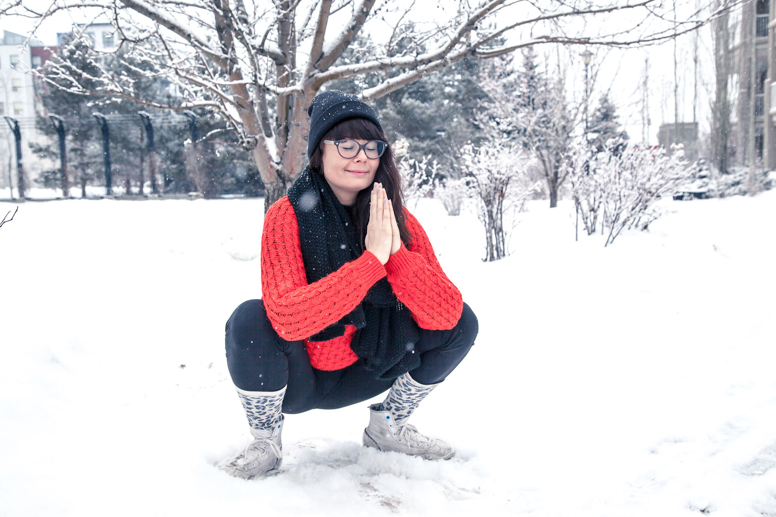 garland pose in a winter wonderland