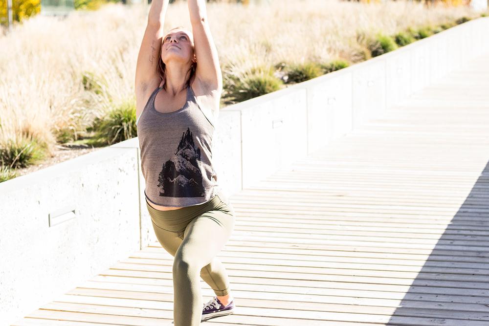 Yogi in a crescent lunge